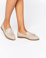 Daisy Street Nude Patent Tassel Flat Loafer Shoes