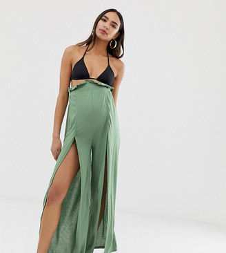 ASOS DESIGN Maternity jersey beach split front pants with paperbag waist in khaki