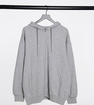 Daisy Street Plus oversized zip-front hoodie in grey