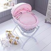 Izziwotnot Pretty Pink Gift Wicker Moses Basket, Soft Grey by Izziwotnot