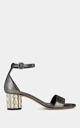 Salvatore Ferragamo Women's Azalea Silver Leather Ankle-Strap Sandals - Silver