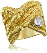 Orlando Orlandini Capriccio - Diamond 18K Yellow Gold Crossover Ring