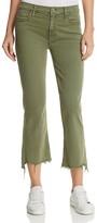 Mother Insider Crop Step-Hem Fray Jeans in Fatigue