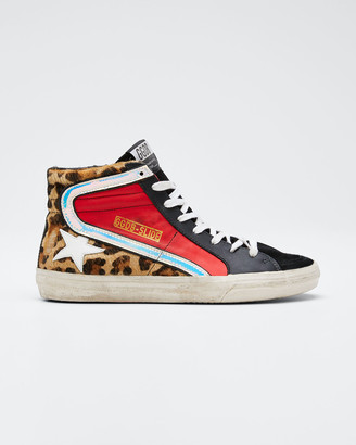 Golden Goose Leopard Star High-Top Sneakers