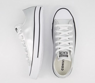Converse Low Leather Trainers Pure Silver Egret Exclusive