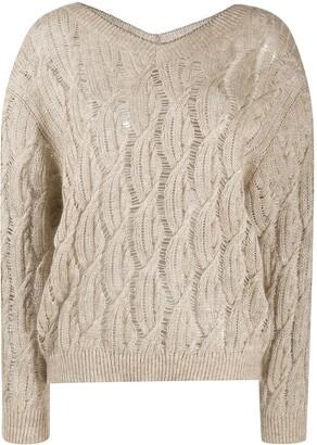 Brunello Cucinelli V-Neck Cable Knit Sweater