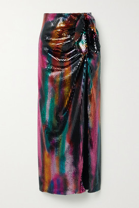 ATTICO Bow-detailed Sequined Satin Maxi Skirt - Black