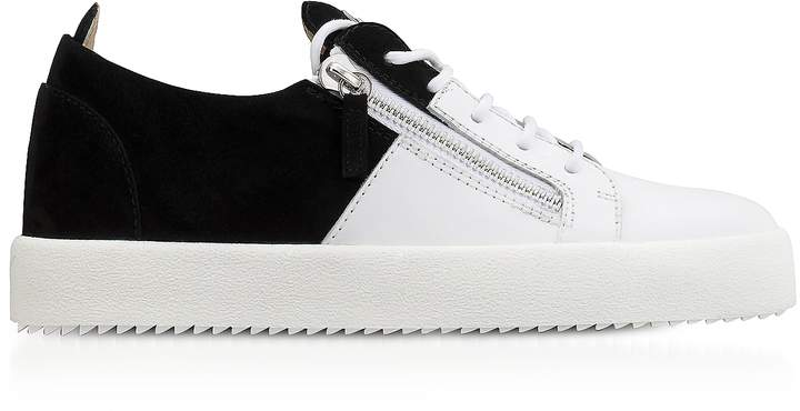 Giuseppe Zanotti White Leather and Black Suede Double Men's Sneakers