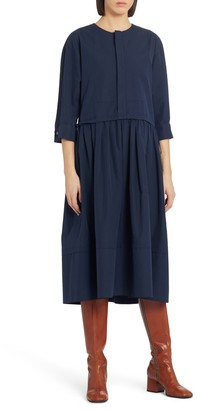 Marni Layered Pleated Cotton Midi Dress