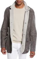 Loro Piana Men's Roadster Suede Shearling Coat