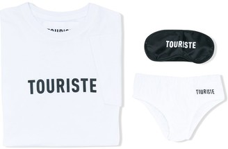 Touriste logo print T-shirt, briefs and sleeping mask
