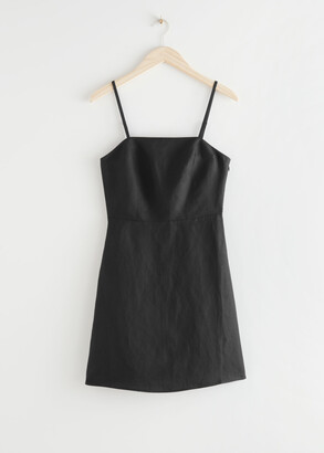 And other stories Fitted Linen Blend Mini Dress