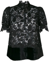No.21 lace high neck blouse - women - Silk/Polyester/Viscose - 42