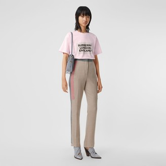 Burberry ogo Print Stretch Cotton Oversized T-shirt