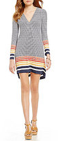 M.S.S.P. V-Neck Long Sleeve Stripe Knit Jersey Shift Dress