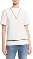 Alexander Wang Sheer-Inset Short-Sleeve Boxy Blouse, Bone