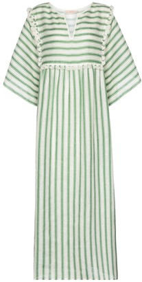 Tory Burch Striped linen midi dress
