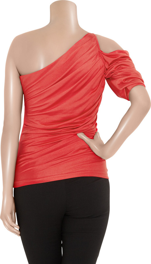 Halston Asymmetric ruched silk and cotton-blend top