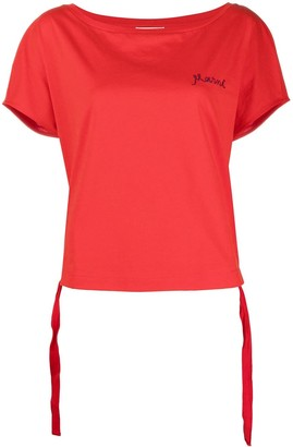 Marni logo-embroidered cinch-hem T-shirt