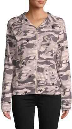 Monrow Star & Camo-Print Hooded Jacket