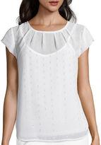 Liz Claiborne Short-Sleeve Pleated Tee - Tall