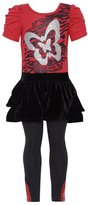 RMLA Little Girls Black Velvet Spotted Glitter Star Dress Legging Set