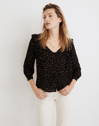 Madewell Ruffled Button-Front Top in Confetti Toss
