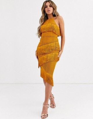 Asos Design DESIGN midi dress with tiered fringing in spiral lace-Yellow