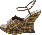 Prada Canvas Platform Wedges