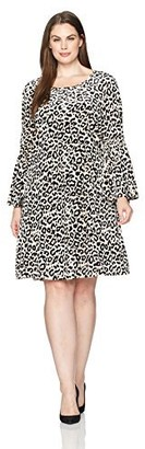 Julian Taylor Women's Plus Size Full Figure Leopard Printed Velvet Dress