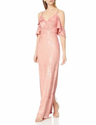 ABS by Allen Schwartz Women's Sequins Gown W/Cascading Shoulder Cut-Outs