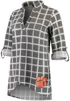 Unbranded Women's Gray Clemson Tigers In It To Win It Window Pane V-Neck 3/4-Sleeve Blouse
