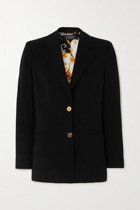 Versace Wool-blend Grain De Poudre Blazer - Black