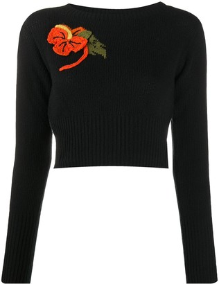 Prada Knit Crop Jumper With Crochet Flower Detail