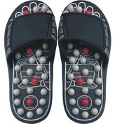 Deluxe Comfort Mens Slip-On Smart Step Reflexology Sandals, Size 9-10 ? Rejuvenates Sore Feet ? Orthopedic Foot Therapy ? Athlete Recovery Footware ? Foot Massager Sandals, Black/Grey