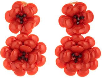 Oscar de la Renta Embellished Gardenia Clip Earrings