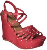 Xhilaration Women's Sallie Studded Wedge Sandal - Red