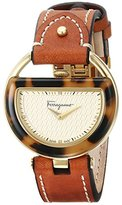 Salvatore Ferragamo Women's FG5020014 Gold Ion-Plated Watch with Brown Leather Band