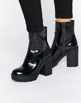 Monki Chunky Patent Heeled Ankle Boot
