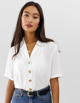 Only button through short sleeve top in white