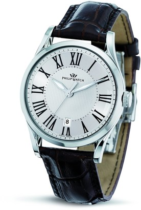Philip Watch Philip Sunray Men's Quartz Watch with White Dial Analogue Display and Purple Leather Strap R8251180003