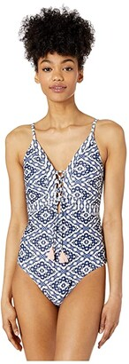 Jessica Simpson Venice Beach Lace-Up Front One-Piece (Dark Multi) Women's Swimsuits One Piece