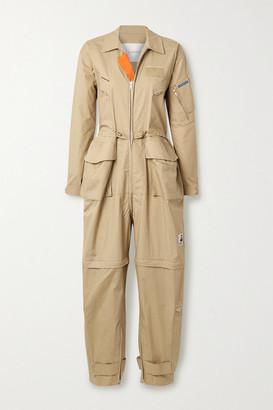 pushBUTTON Oversized Cutout Cotton Jumpsuit - Beige