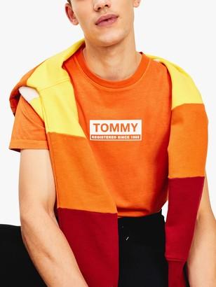 Tommy Hilfiger Tommy Jeans Crew Neck Box Logo T-Shirt, Bonfire Orange