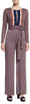 Diane von Furstenberg Starla Long-Sleeve Rickrack Stripe Jumpsuit, Khaki/Midnight/Orange