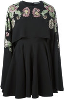 Alexander McQueen floral embellished cape dress - women - Silk/plastic/metal/glass - 40