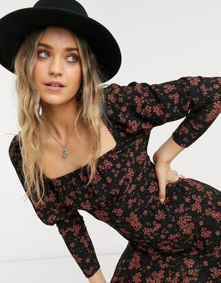 Lipsy square neck mini skater dress in rust floral print