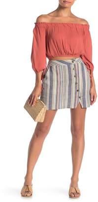 HYFVE Multicolor Stripe Front Button Mini Skirt
