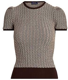 Polo Ralph Lauren Women's Herringbone Wool Puff-Sleeve Sweater