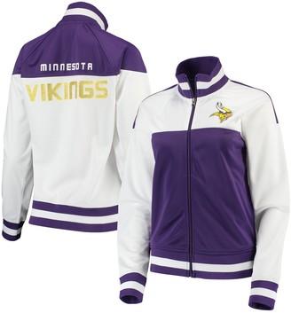 G Iii Women's G-III 4Her by Carl Banks White/Purple Minnesota Vikings Face Off Raglan Full-Zip Track Jacket